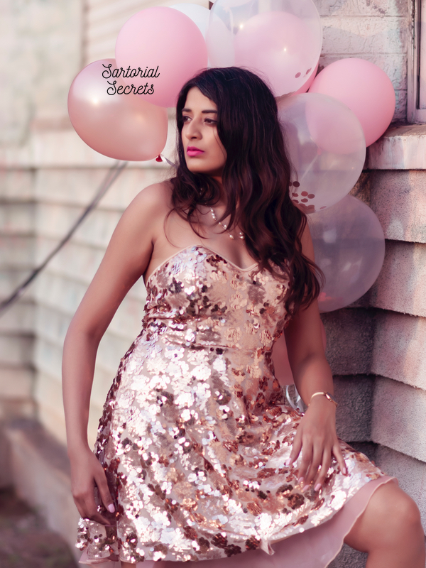 pink sequins valentine's day outfit